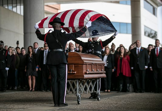 Jon Lesher Funeral with flag