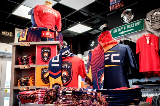 Lansing Ignite merchandise on display in the gift shop during the announcement of the new professional soccer team on Thursday, Oct. 25, 2018, at Cooley Law School Stadium in Lansing.