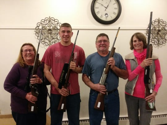 Manitowoc County Fish and Game Protective Association held its annual banquet Oct. 18 at City Limits. Top winners included, from left: first, grand prize won by Kathy Saubert; second, committee select prize, won by Frank Koeppel; third, president's select prize, won by Russell Rezba; and fourth, vice president select prize, won by Kathy Heise.
