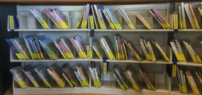 Children's picture books on shelves at Manitowoc Public Library.