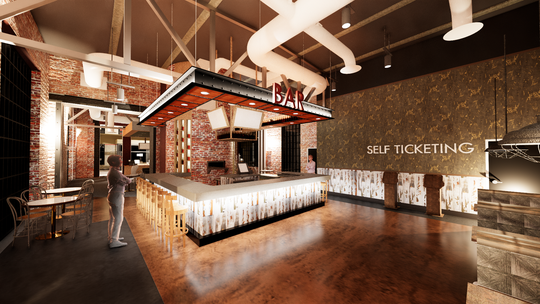 A rendering of the bar planned for the Malco Powerhouse Cinema reveals the use of the actual brick and industrial ceiling elements of the 1914 powerhouse.