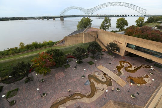 Mud Island River Park with a view of the Hernando de Soto Bridge over the Mississippi River on Wednesday, Oct. 24, 2018.