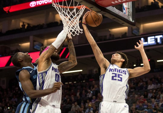 Oct 24, 2018; Sacramento, CA, USA; Sacramento Kings forward Justin Jackson (25) grabs a rebound during the first quarter against the Memphis Grizzlies at Golden 1 Center.