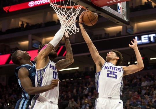 Oct 24, 2018; Sacramento, CA, USA; Sacramento Kings forward Justin Jackson (25) grabs a rebound during the first quarter against the Memphis Grizzlies at Golden 1 Center.