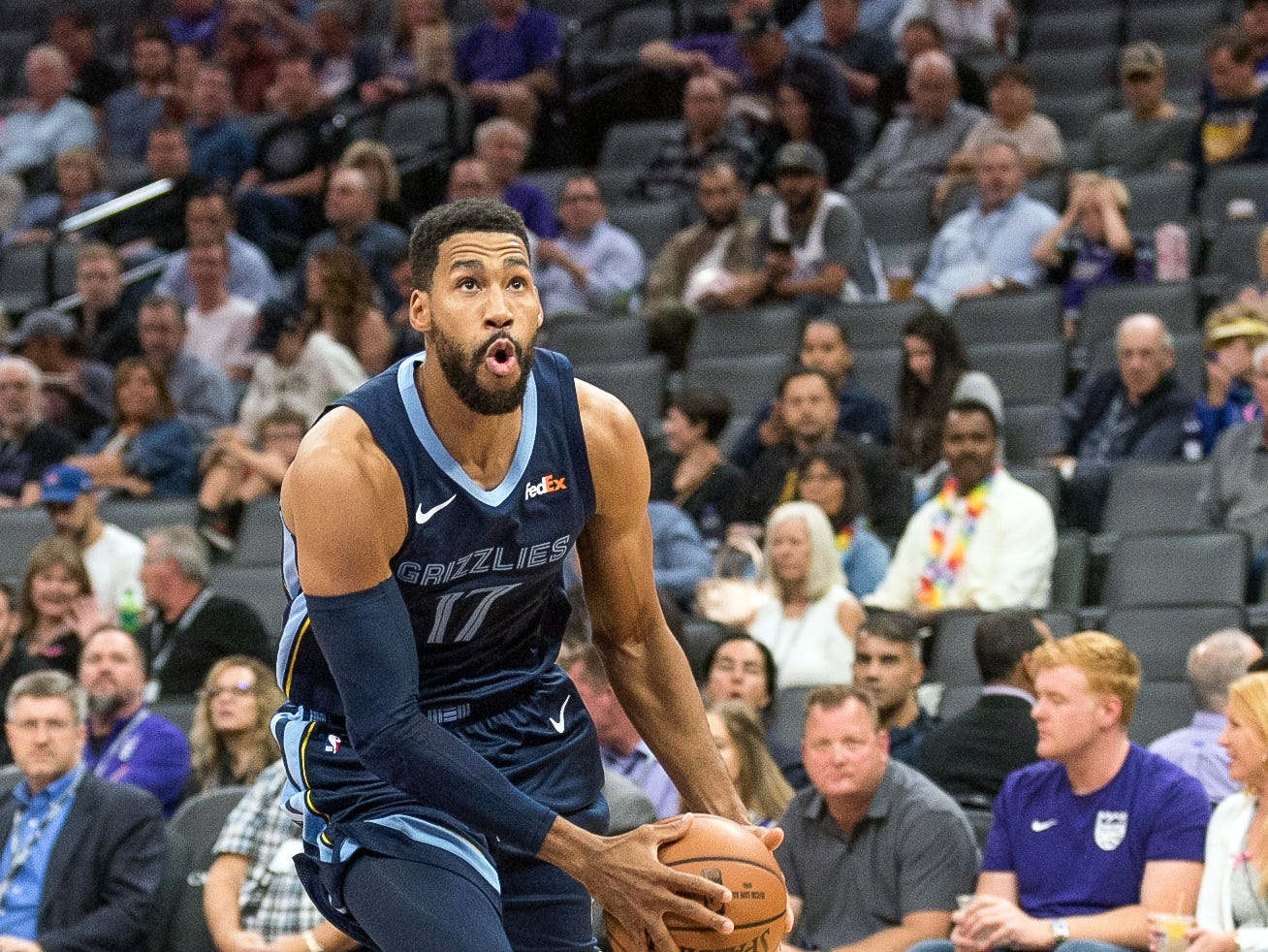 Oct 24, 2018; Sacramento, CA, USA; Memphis Grizzlies guard Garrett Temple (17) drives to the basket during the first quarter against the Sacramento Kings at Golden 1 Center.