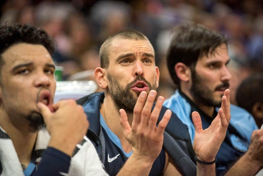 Oct 24, 2018; Sacramento, CA, USA; Memphis Grizzlies center Marc Gasol (33) reacts to a call during the second quarter of the game against the Sacramento Kings at Golden 1 Center.