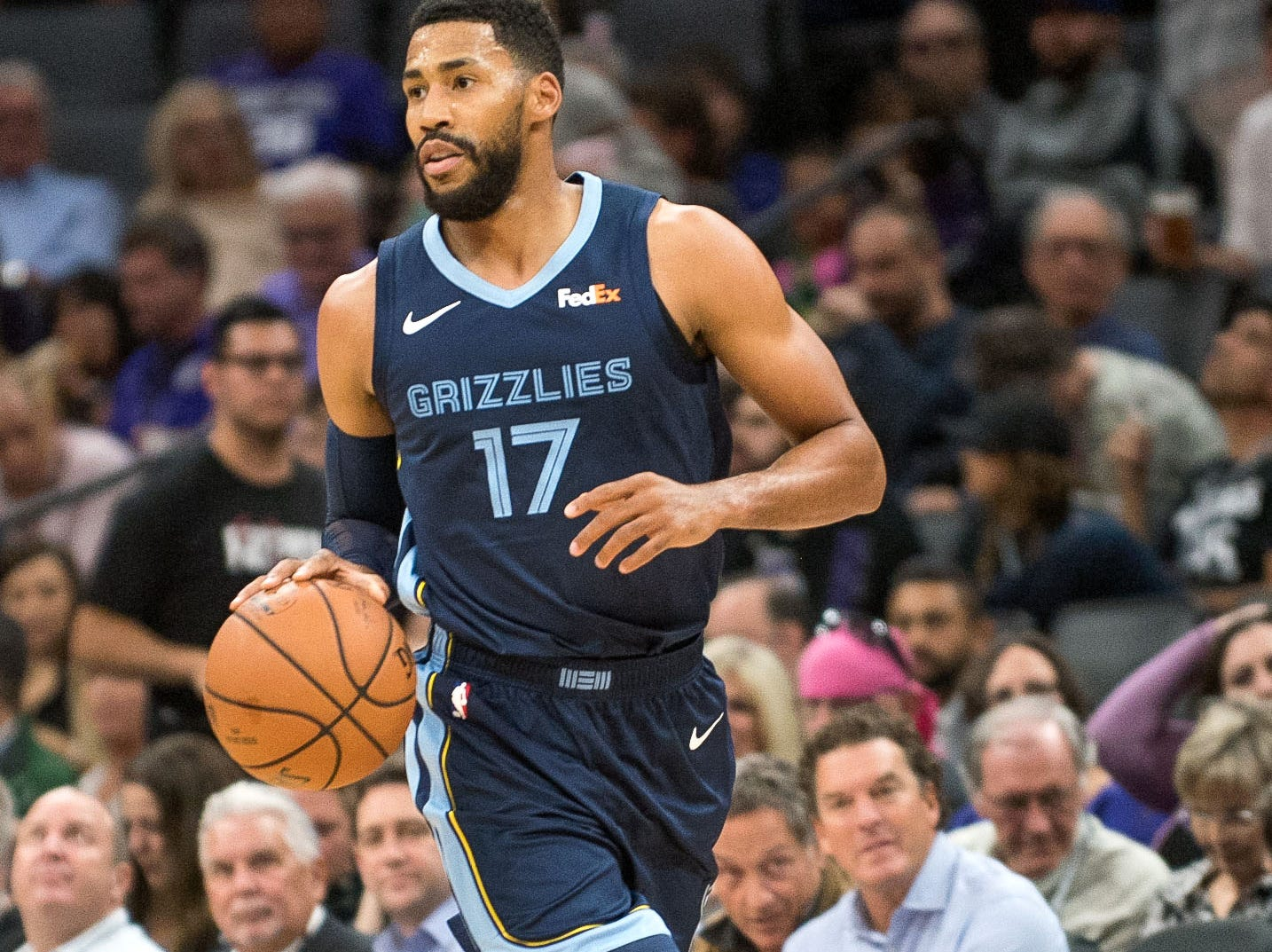 Oct 24, 2018; Sacramento, CA, USA; Memphis Grizzlies guard Garrett Temple (17) pushes the ball up the court during the first quarter against the Sacramento Kings at Golden 1 Center.