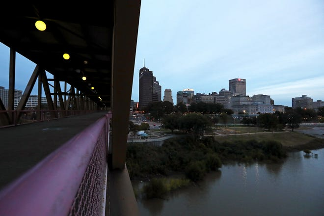 view of the downtown Memphis skyine from the Mud Island River Park walking bridge on Wednesday, Oct. 24, 2018.