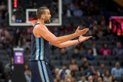 Oct 24, 2018; Sacramento, CA, USA; Memphis Grizzlies center Marc Gasol (33) reacts to a call during the second quarter against the Sacramento Kings at Golden 1 Center.