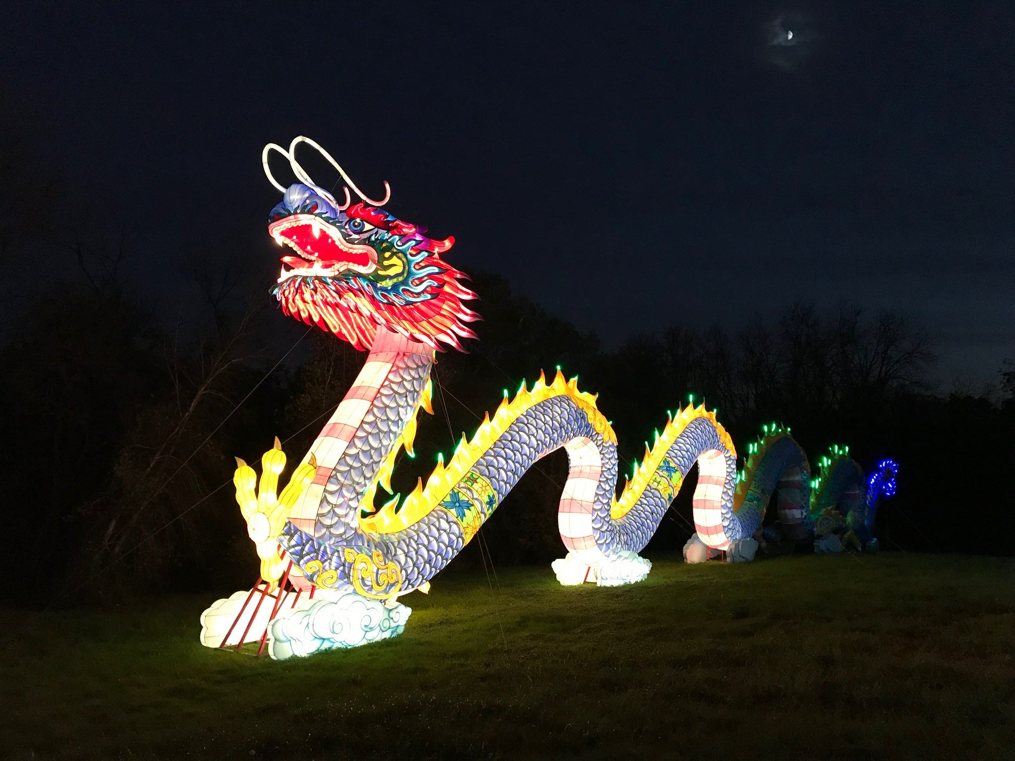 Under the moon, the dragon spans 200 feet at the China Lights lantern festival. The dragon, which was orange and red in 2017, changed its colors for the 2018 event. The dragon, along with its companion phoenix, are the only two displays from 2017 that returned this year.