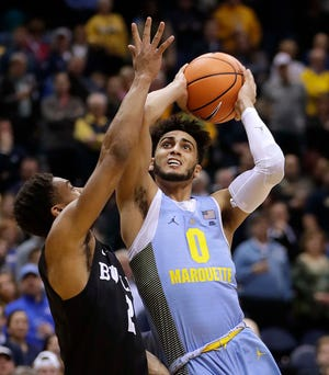 Markus Howard has gotten knocked around in the lane a lot while playing for Marquette and hopes being physically stronger this year will help him hold up better against defenders.