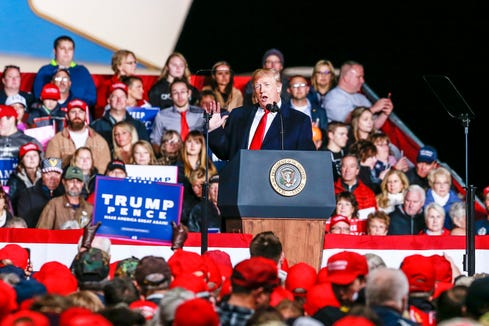 President Donald Trump makes a speech in front of thousands of people during a rally at the Central Wisconsin Airport in Mosinee.