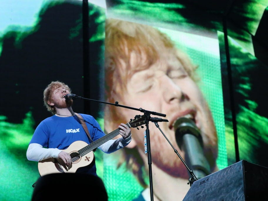 Ed Sheeran performs at a sold-out Miller Park on Oct. 24, 2018.
