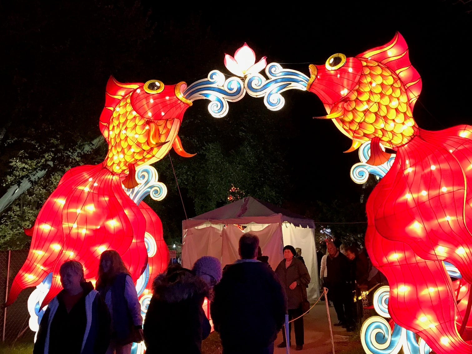 The fish provide a nice gateway for guests at the 2018 China Lights lantern festival. An interactive display for children awaits in this area of the Boerner Botanical Gardens.