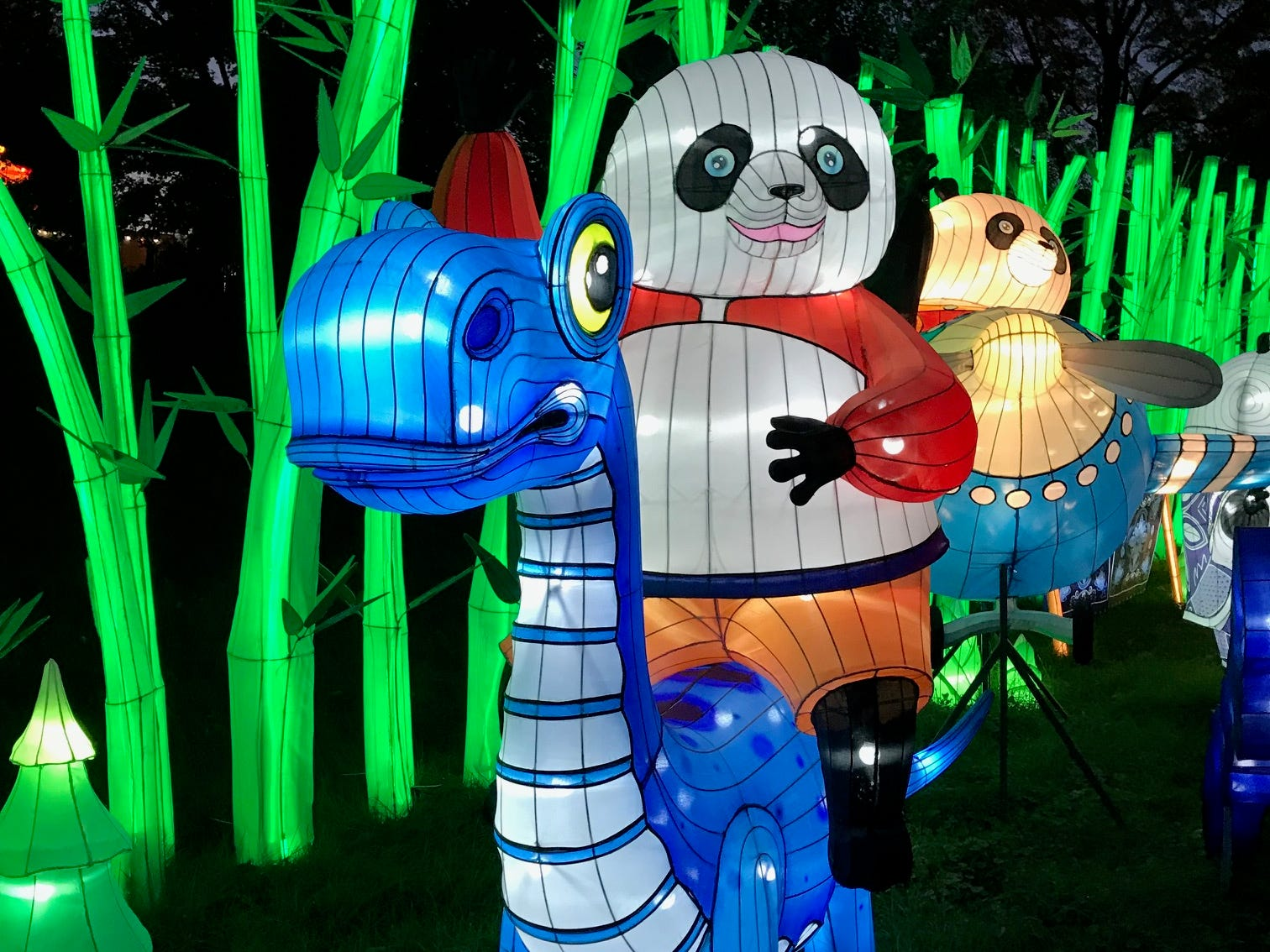 The pandas at the China Lights lantern festival also like to ride on dinosaurs. Since the festival's theme in 2018 is Panda-Mania, there was a heavy dose of panda lanterns.