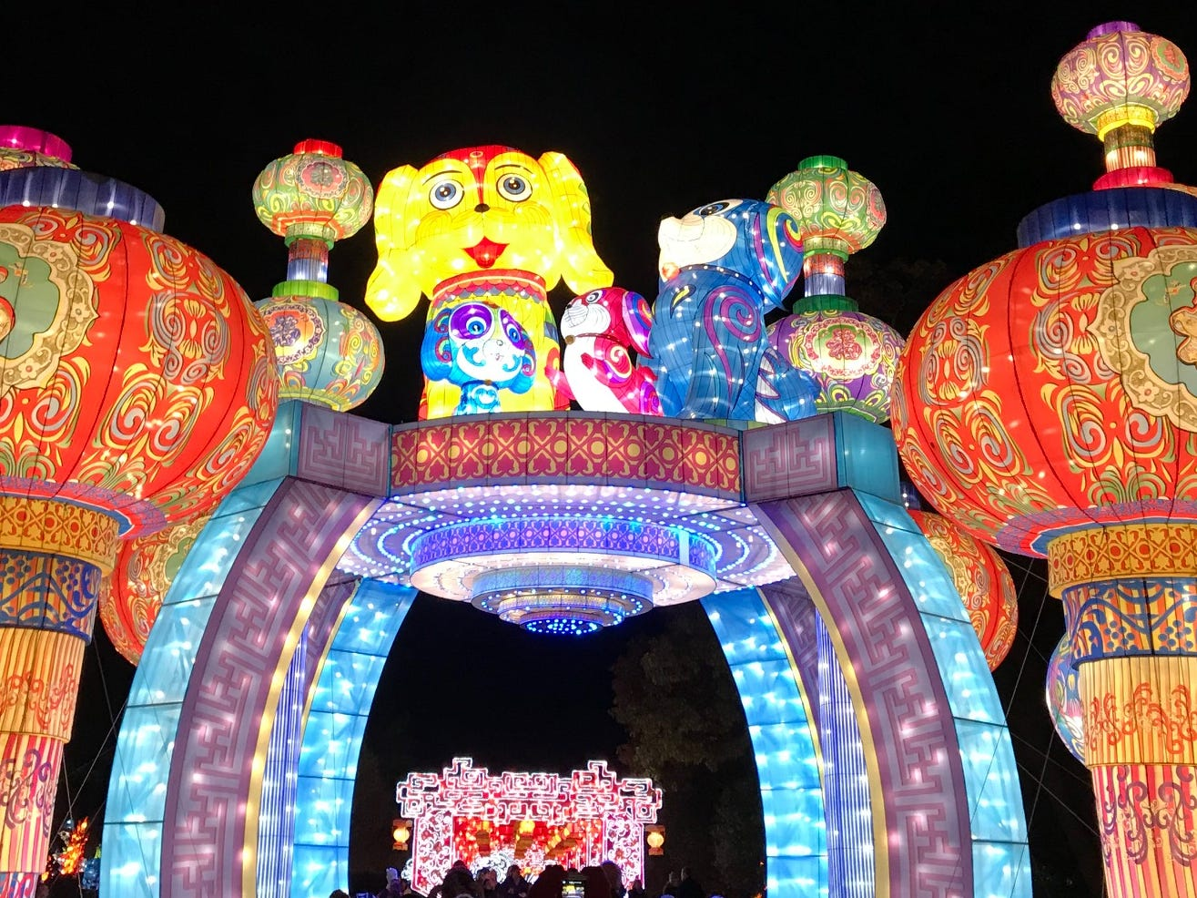 The 2018 China Lights festival includes a pavilion-shaped lantern display with a dog lantern on top. It's the year of the dog in the Chinese zodiac.