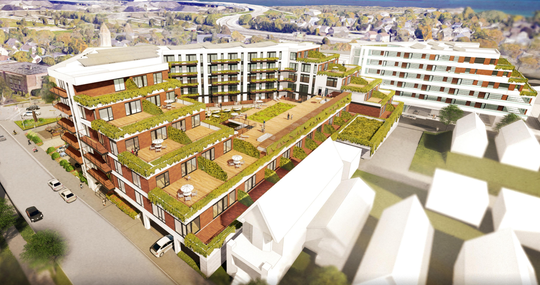 The apartment development proposed for Bay View would feature stepped-down rear terraces next to single-family homes on South Logan Avenue and South Herman Street.