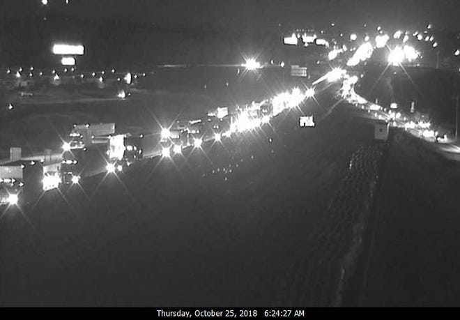 Traffic is backed up on I-41/94 at Highway KR in Racine County Thursday morning after a crash shut down the  interstate there.