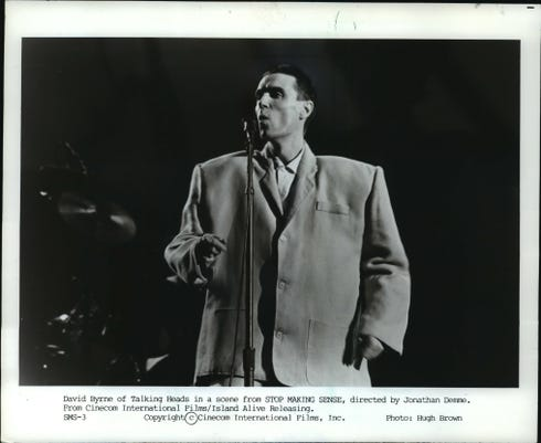 1985 Press Photo David Byrne In Stop Making Sense