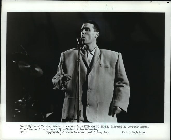 David Byrne of Talking Heads in a scene from the film Stop Making Sense.