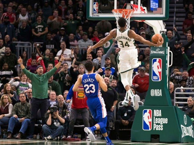 Giannis Antetokounmpo of the Bucks winds up for a dunk as Landry Shamet of the 76ers helplessly watches during the second quarter Wednesday at Fiserv Forum. The Greek Freak produced his first triple-double of the season with 32 points, 18 rebounds and 10 assists against Philadelphia.