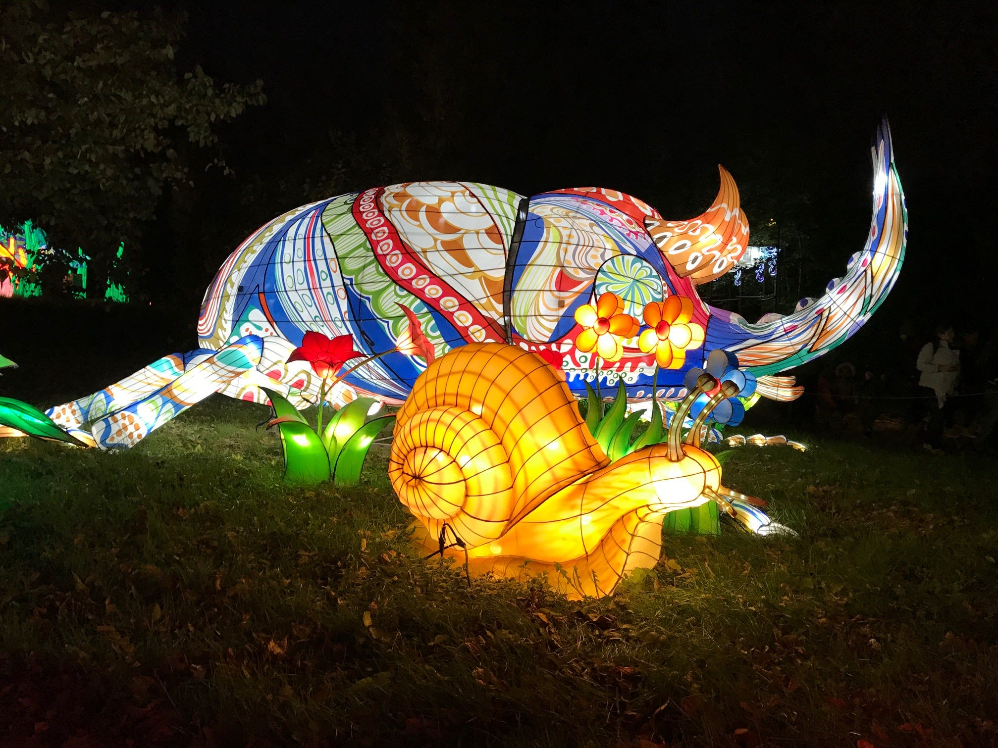 The rhinoceros beetle is a colorful display in Insect Land at the 2018 China Lights lantern festival on the grounds of the Boerner Botanical Gardens. The festival began Sept. 21 and runs through 10 p.m. Sunday, Oct. 28.