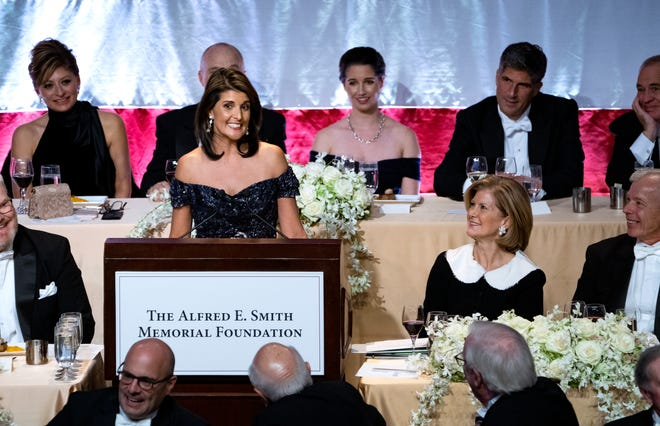Keynote speaker Ambassador to the United Nations Nikki Haley addresses the 73rd Annual Alfred E. Smith Memorial Foundation Dinner on Oct. 18, 2018, in New York.