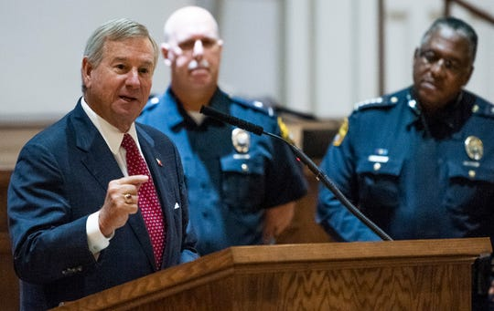 Montgomery Mayor Todd Strange speaks during a press conference announcing arrests is held by the MPD at City Hall in Montgomery, Ala., on Thursday October 25, 2018.