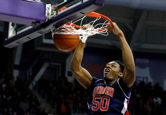 Auburn  center Austin Wiley (50) dunks the ball against TCU at Ed and Rae Schollmaier Arena on Jan. 28, 2018, in Fort Worth, Texas.
