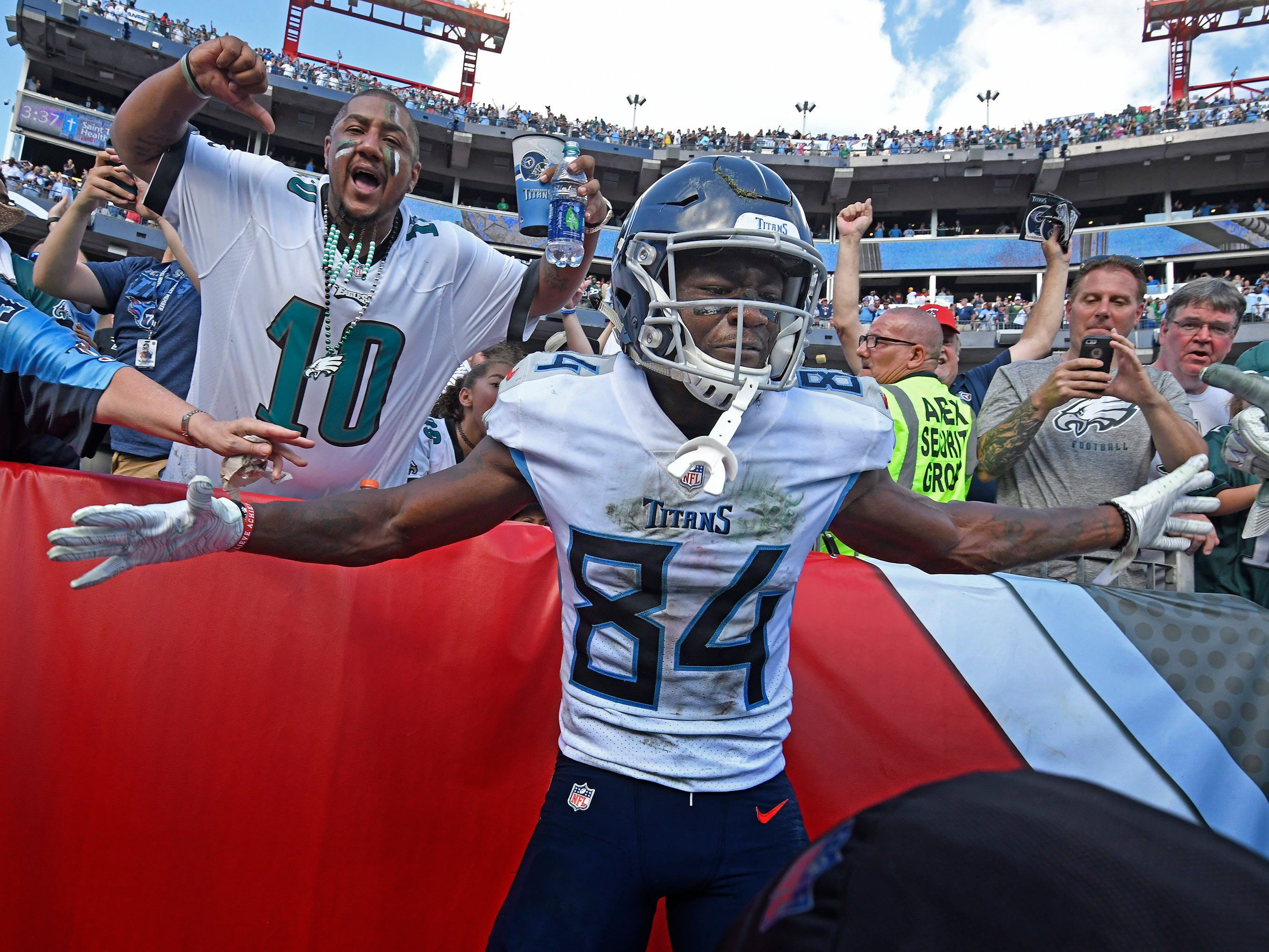 Sept. 30: TItans 26, Eagles 23 -- Titans wide receiver Corey Davis (84) celebrates his game-winning touchdown in overtime at Nissan Stadium Sunday, Sept. 30, 2018, in Nashville, Tenn.