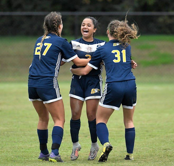 Seymour players celebrate after beating Nolensville, 2-0, during a semi-final game at the TSSAA Class AA State Girls' Soccer Tournament in Murfreesboro on Thursday, Oct. 25, 2018.