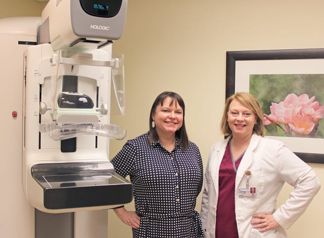 Williamson Medical Center's Rebecca Baskin, M.D., Breast Surgeon and Iantha Harney, M.D., Radiologist with new SmartCurve mammography system.