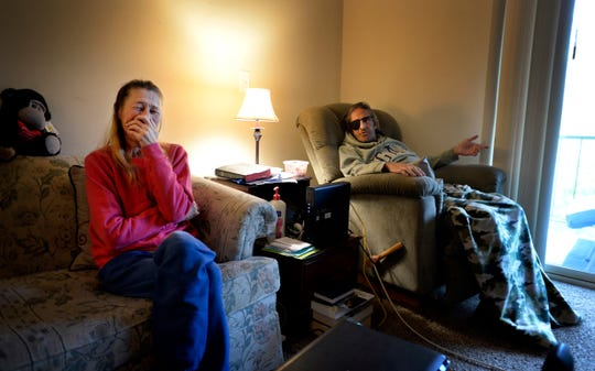 James Rushing makes Kim Byrd laugh as they talk about being evicted at the end of the month from their Park West apartment on Thursday, Oct. 25, 2018, in Nashville, Tenn. They were homeless until four years ago when Open Table helped them get their apartment. James is terminally ill with cancer. But now the new owner of the complex is refusing to take Section 8 housing vouchers so they have to move by the end of the month.