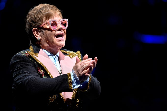 Elton John performs at Bridgestone Arena Wednesday, Oct. 24, 2018, in Nashville, Tenn.