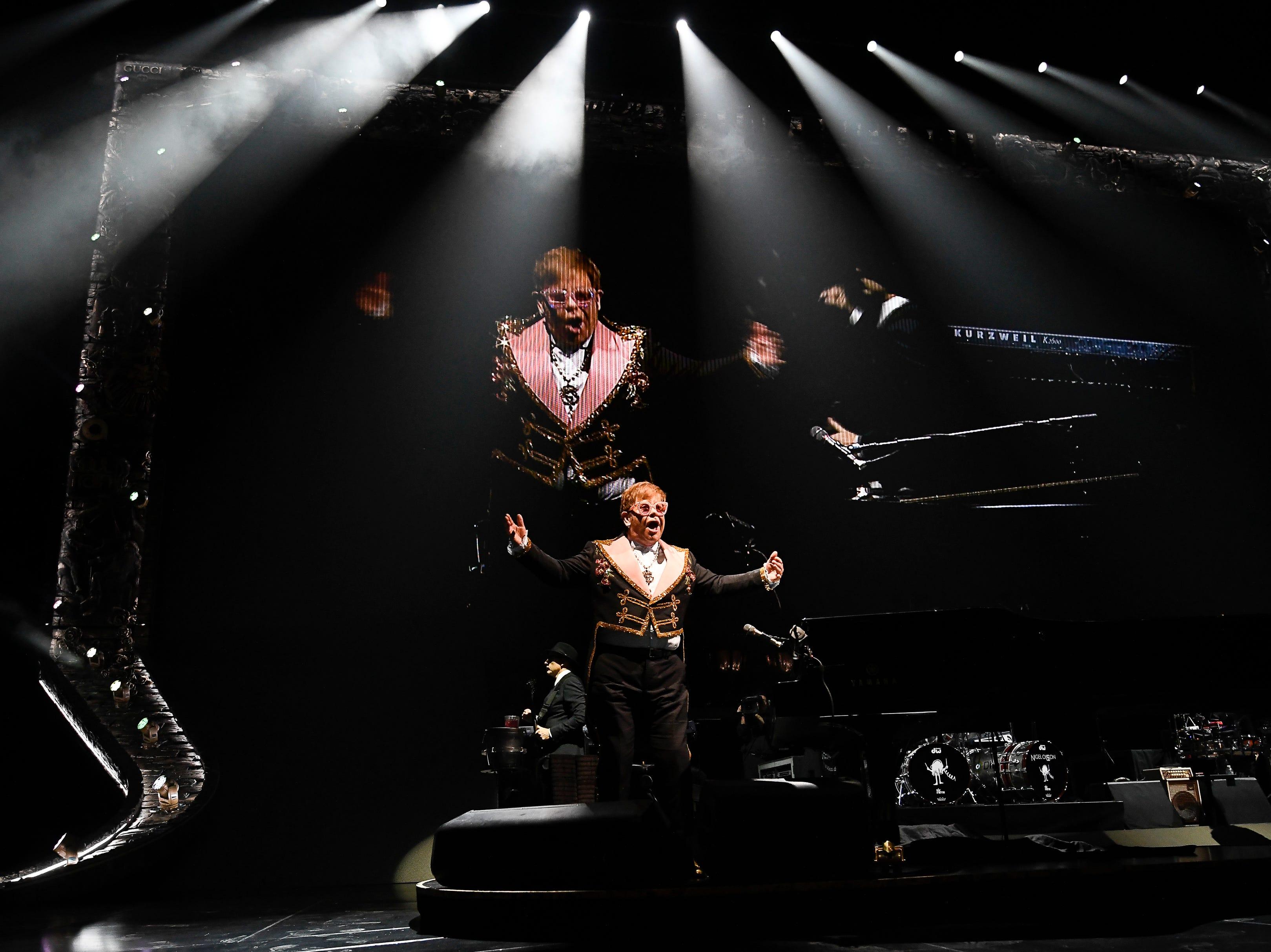 Elton John performs at Bridgestone Arena Wednesday, Oct. 24, 2018, in Nashville, Tenn.