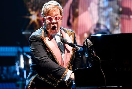 Elton John performs  Oct. 24, 2018, at Bridgestone Arena in Nashville.