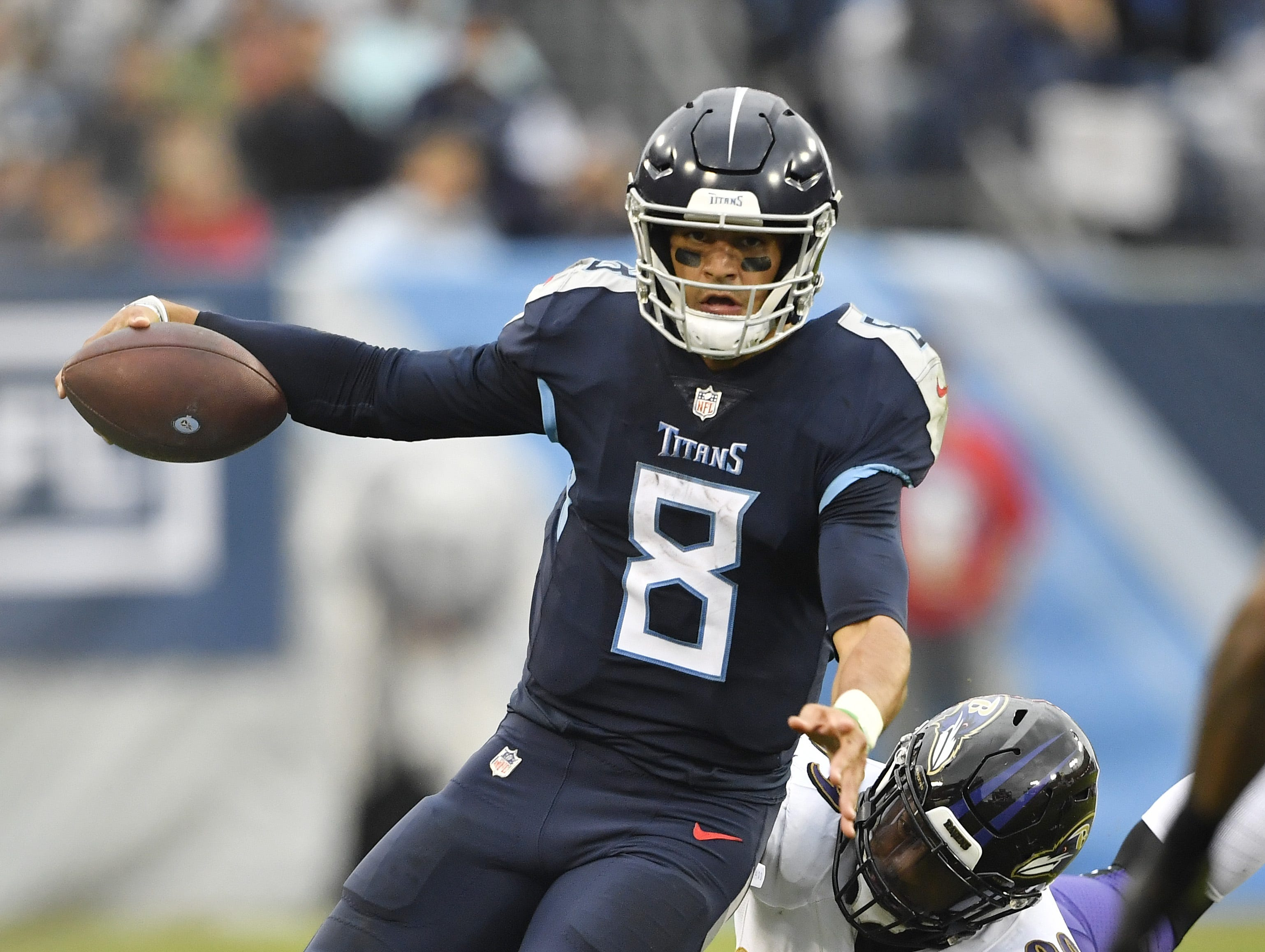 Oct. 14: Ravens 21, Titans 0 --   Titans quarterback Marcus Mariota (8) scrambles out of the pocket in the second quarter at Nissan Stadium Sunday, Oct. 14, 2018, in Nashville, Tenn.