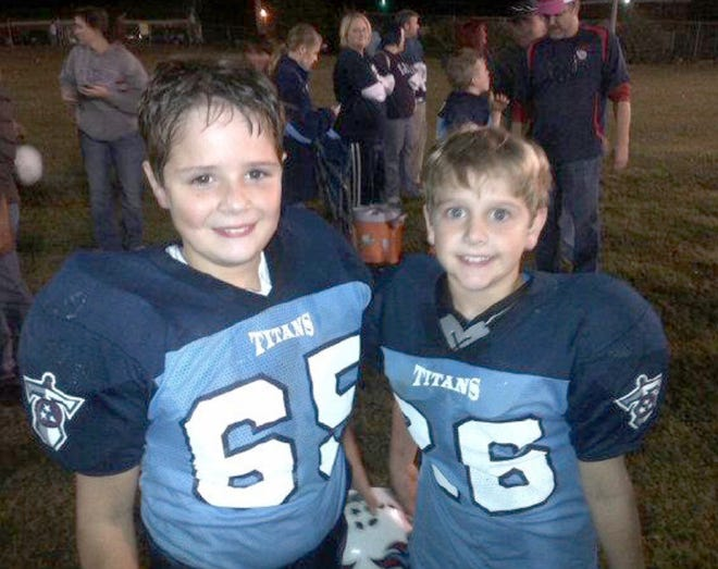 Zach and Jacob Derrick on the gridiron as Fairview Titans Junior Pro football players.