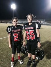 Jacob and Zach Derrick on the football field as Fairview Middle School Falcons.