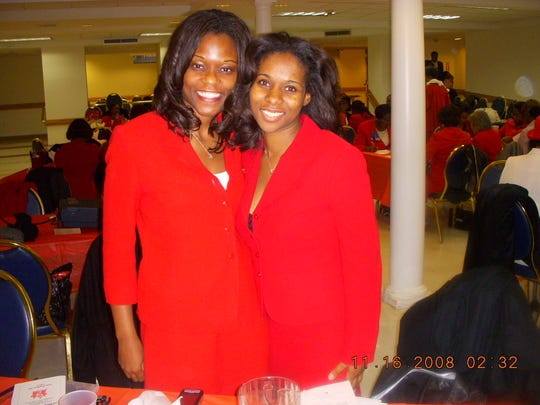 Rodneyse Bichotte, now a Brooklyn Assemblywoman, and Angela Bledsoe at a meeting of Delta Sigma Theta service sorority in 2008.