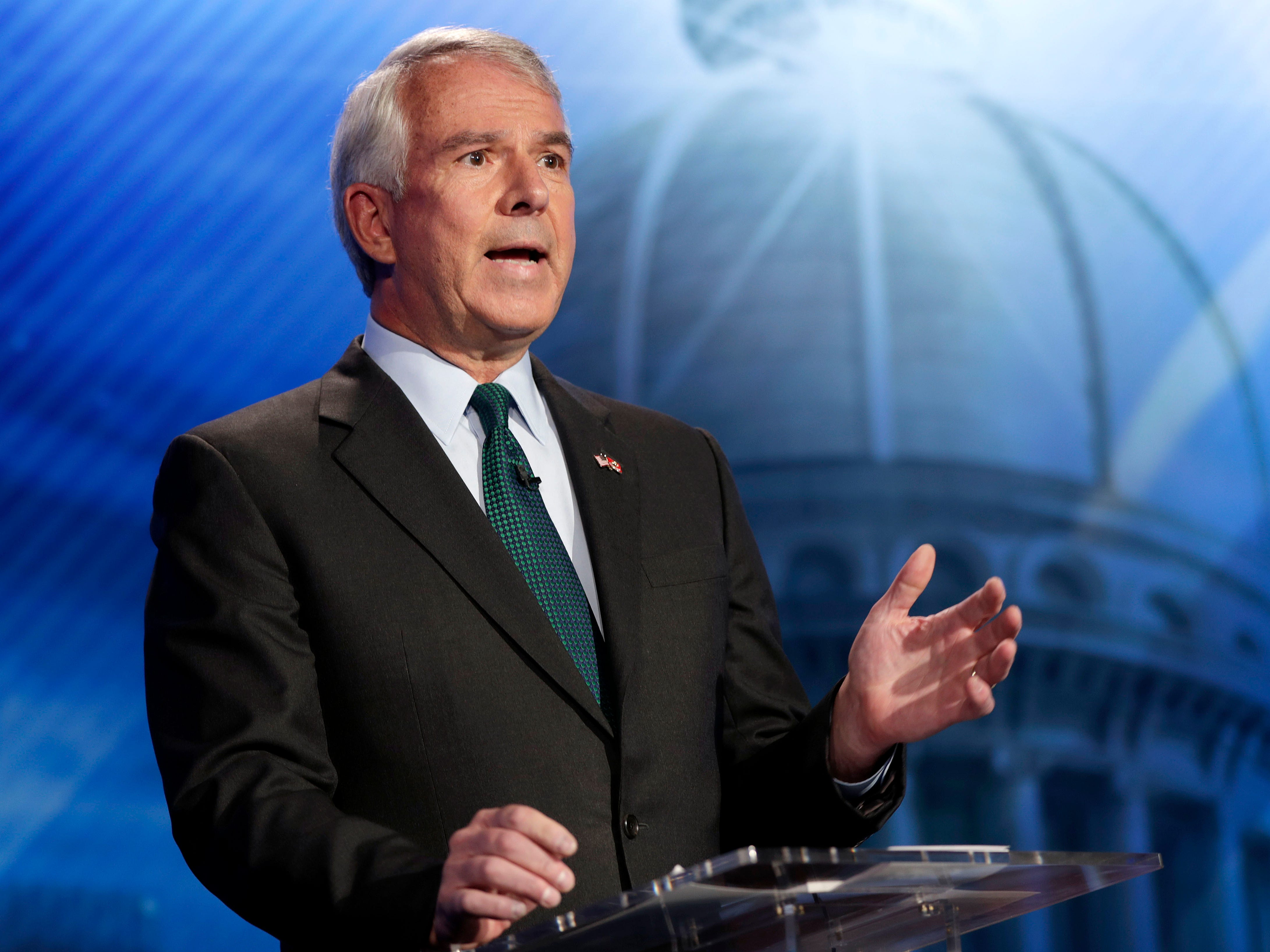 Bob Hugin, the Republican candidate for the U.S. Senate race in New Jersey, speaks during a debate with Sen. Bob Menendez, the Democrat candidate, Wednesday, Oct. 24, 2018, in Newark, N.J.