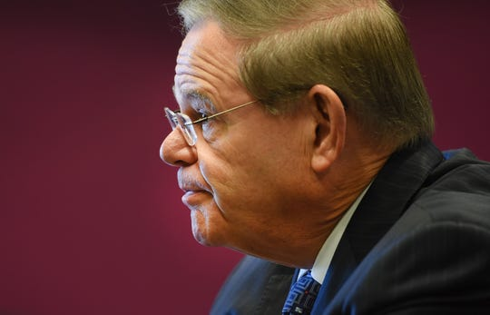 U.S Senator Bob Menendez is interviewed during an Edit Board meeting at The Record in Woodland Park on 10/25/18.