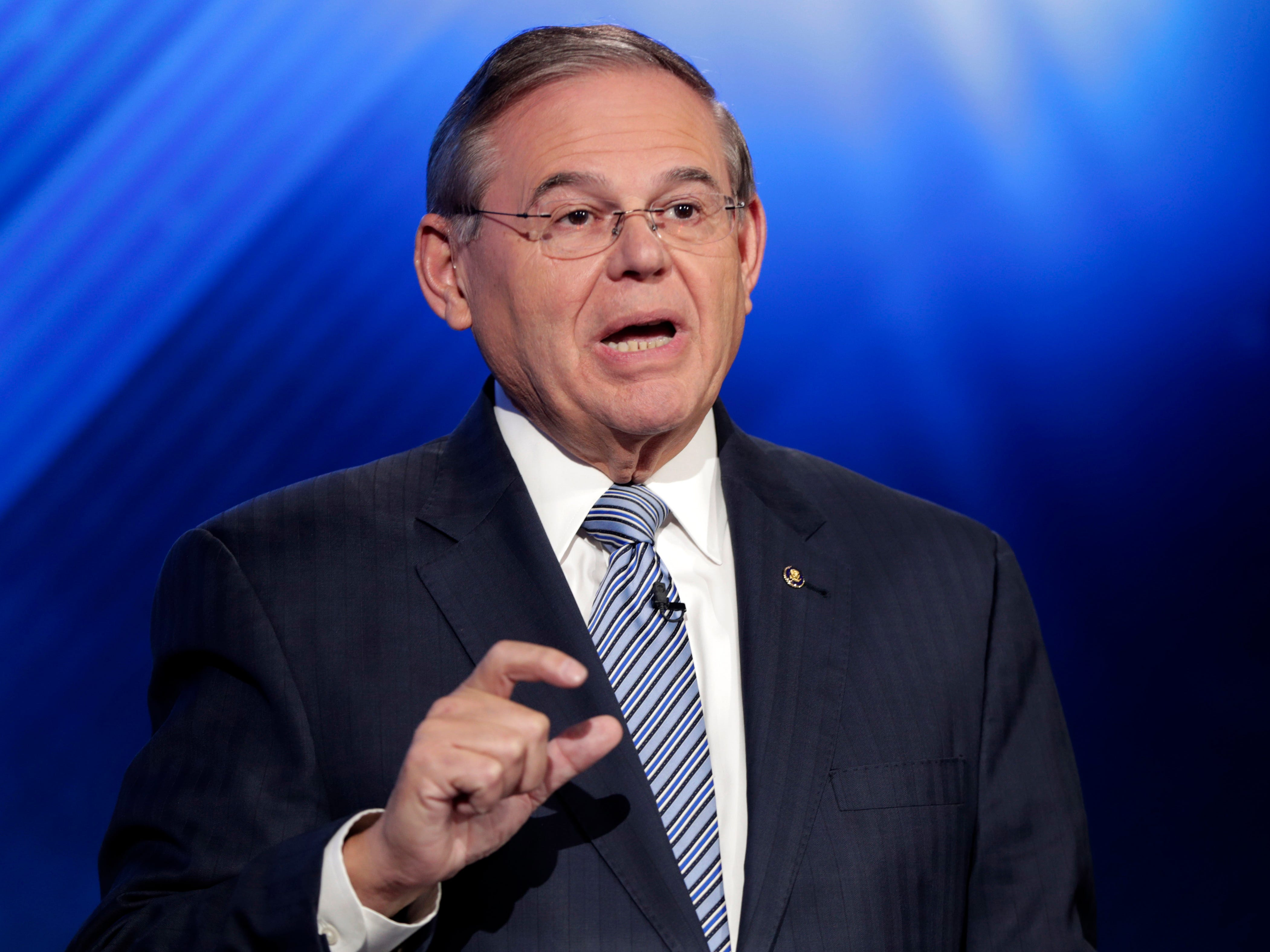 New Jersey Sen. Bob Menendez, the Democrat candidate for the U.S. Senate race in New Jersey, speaks during a debate with Republican candidate Bob Hugin, Wednesday, Oct. 24, 2018, in Newark, N.J.