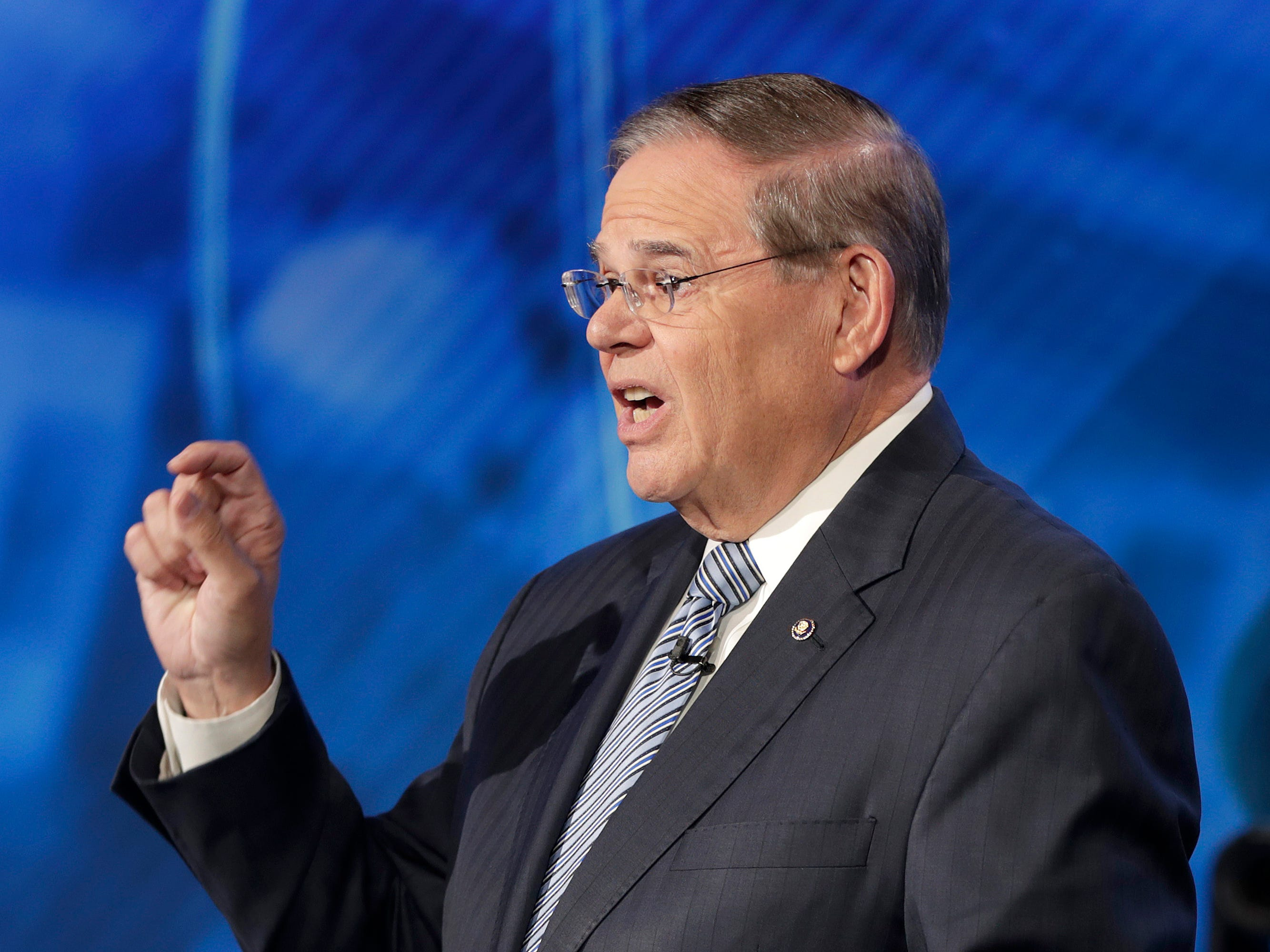 New Jersey Sen. Bob Menendez, the Democrat candidate for the U.S. Senate race in New Jersey, speaks during a debate with Bob Hugin, the Republican candidate, Wednesday, Oct. 24, 2018, in Newark, N.J.