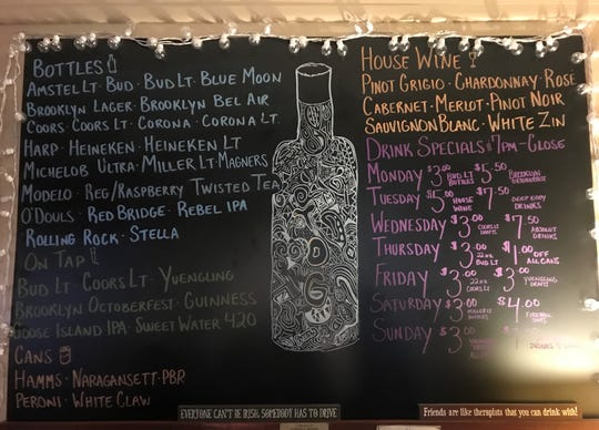 The board at Tavern off the Green in Morristown