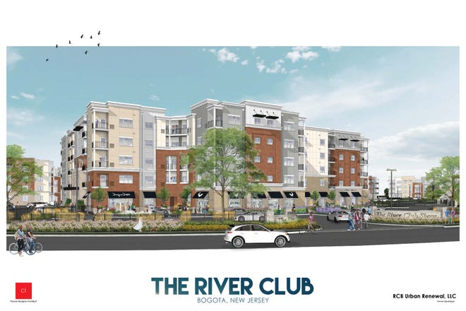 Rendering of the River Club apartment complex in Bogota set to be completed in about two years. It will have 421 apartments along with retail space.