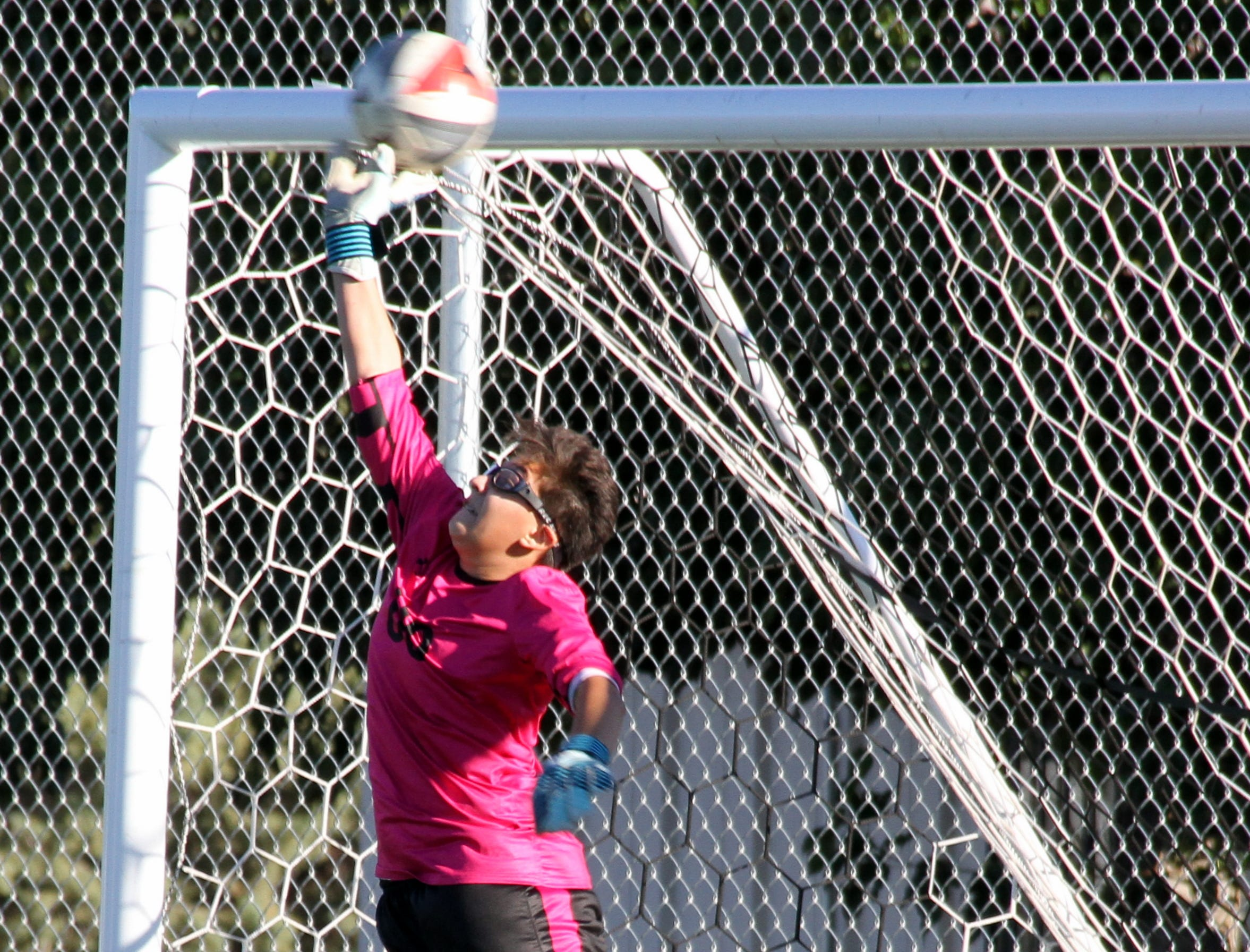 Sophomore Lady 'Cat Alissa Cordova was pressed into duty as goal keeper during Wednesday's District 3-5A soccer match with Mayfield High.