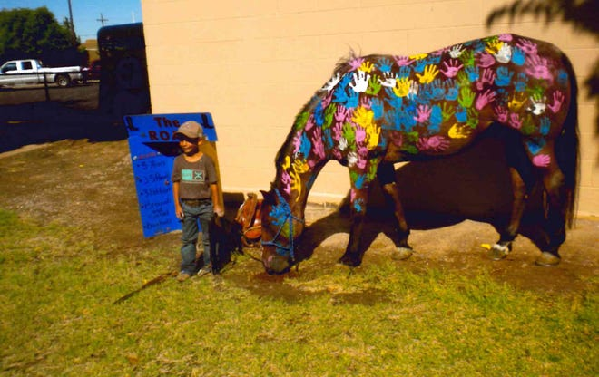 Kindergartener Dredyn Colt Martinez introduces his horse, Roan, to students at Mesilla Elementary School.