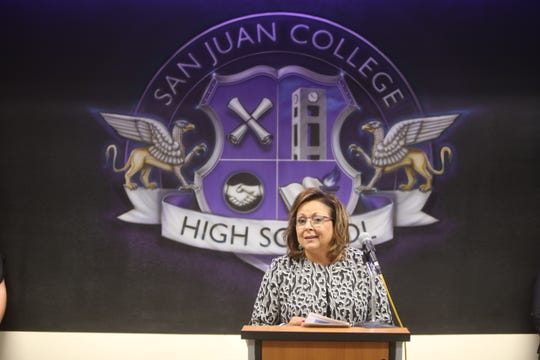 Gov. Susanna Martinez speaks during a presentation recognizing San Juan College High School on Thursday in Farmington.