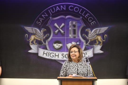 Gov. Susanna Martinez speaks during a presentation recognizing San Juan College High School on Thursday in Farmington.